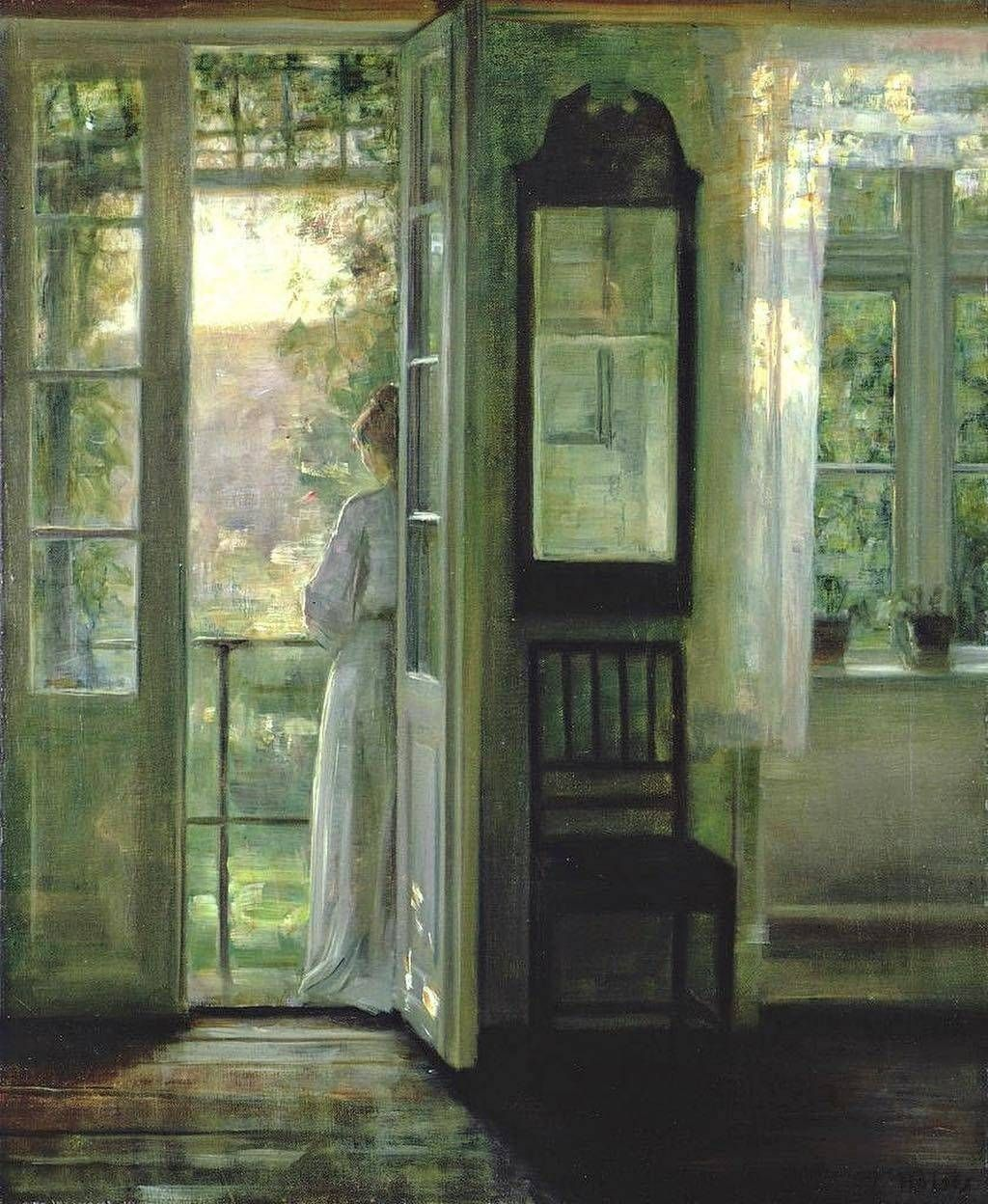 "Carl Holsøe (18631935) ""Donna sul balcone"" Figure"