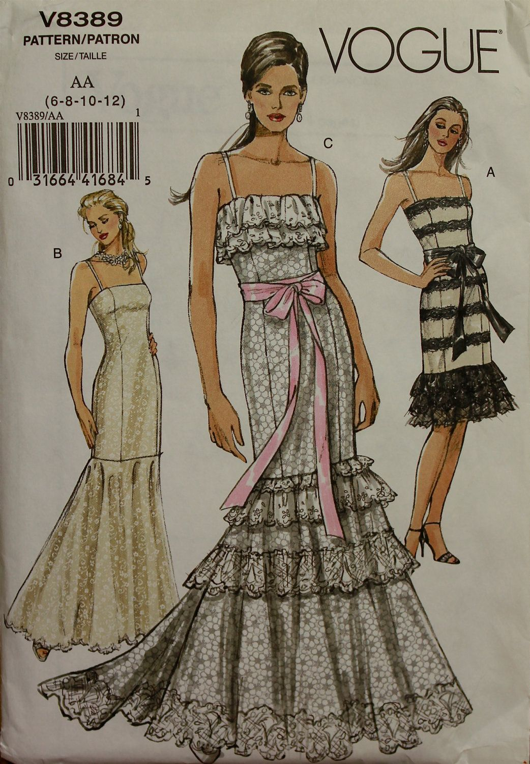 Fishtail Gown or Dress Vogue Pattern 8389 OOP Uncut Sizes 6-8-10-12 ...