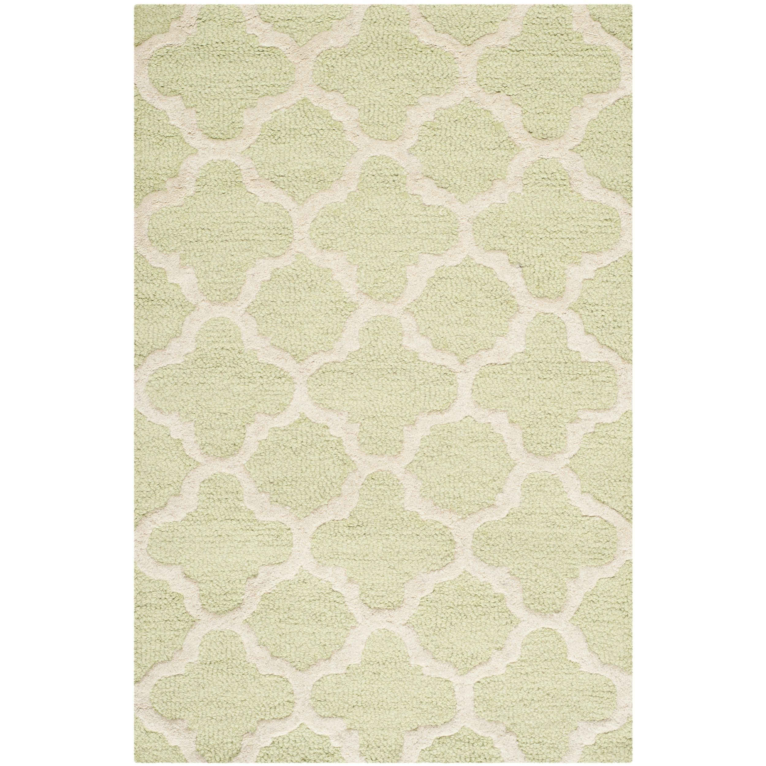 Safavieh Handmade Moroccan Cambridge Light Green Wool Accent Rug (2' x 3') (CAM130B-2) (Cotton, Trellis)