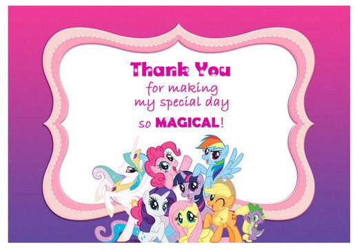 My Little Pony Thank You Cards Birthday Printable My Little Pony Birthday Party My Little Pony Birthday My Little Pony Invitations