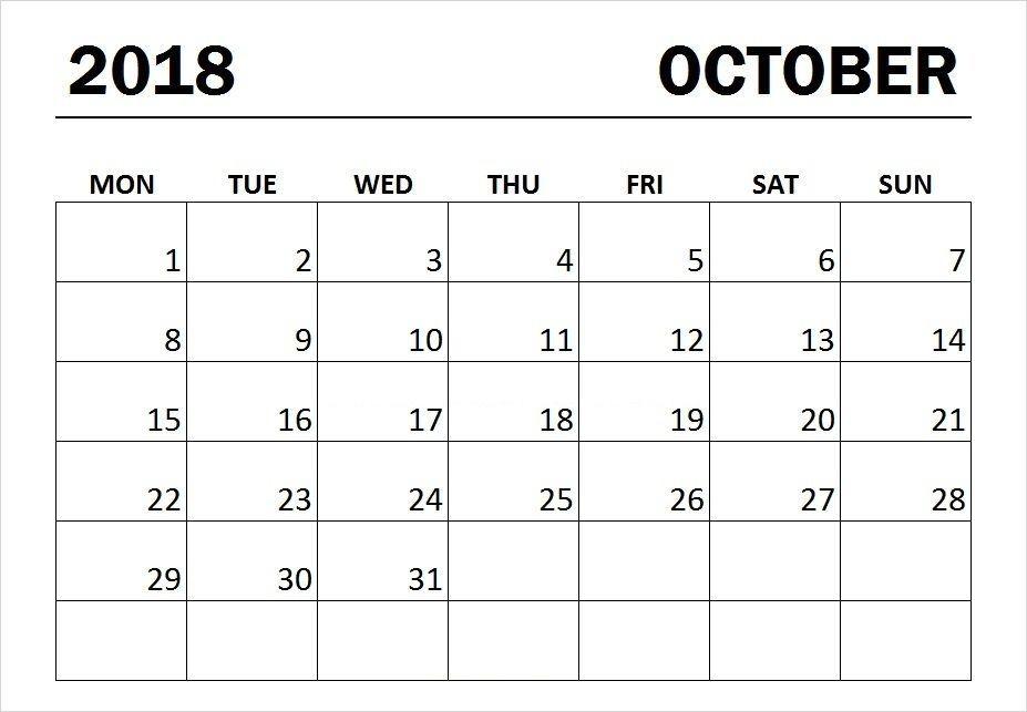 Printable October 2018 Monday Start Calendar Print Calendar