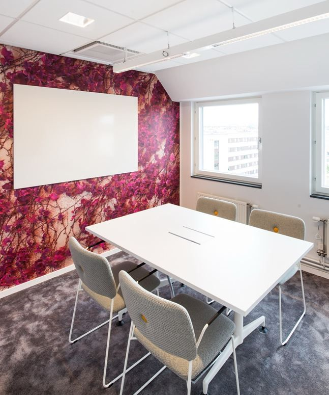 gallery spelndid office room. Home Design, White Table Armchair Board Lamp Art Wall Carpet And Glass Window ~ Splendid Office Renovation With A Colorful Furniture Design Gallery Spelndid Room R