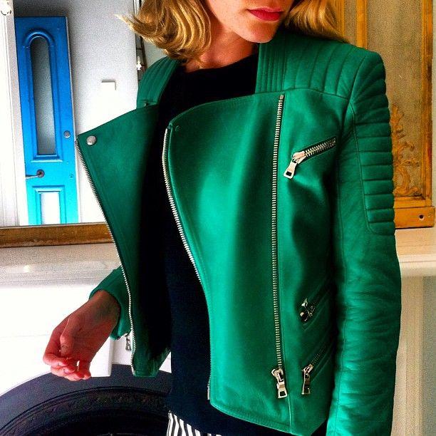 Balmain Green Women Biker Jacket Leather rrxfCp6q