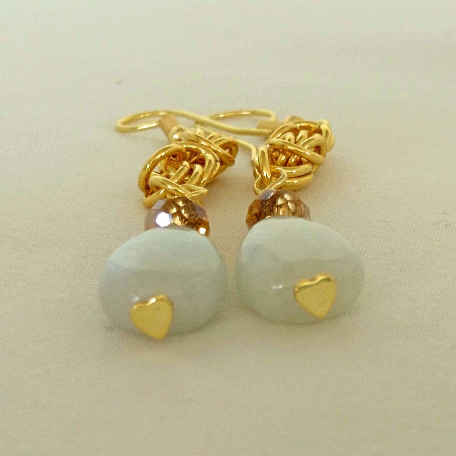 Semi Precious Jadeite Crystal Earrings Gemstone Handmade Chain Maille