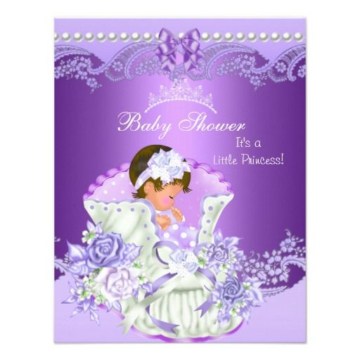 little princess baby shower girl purple tiara vint card | princess, Baby shower invitations