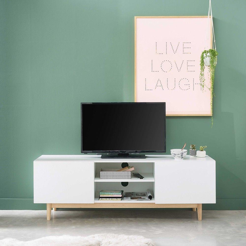 Tv Lowboard Im Vintage Stil Wei Meuble Tv Cadre Lumineux Et  # Meuble Tv Vintage Blanc