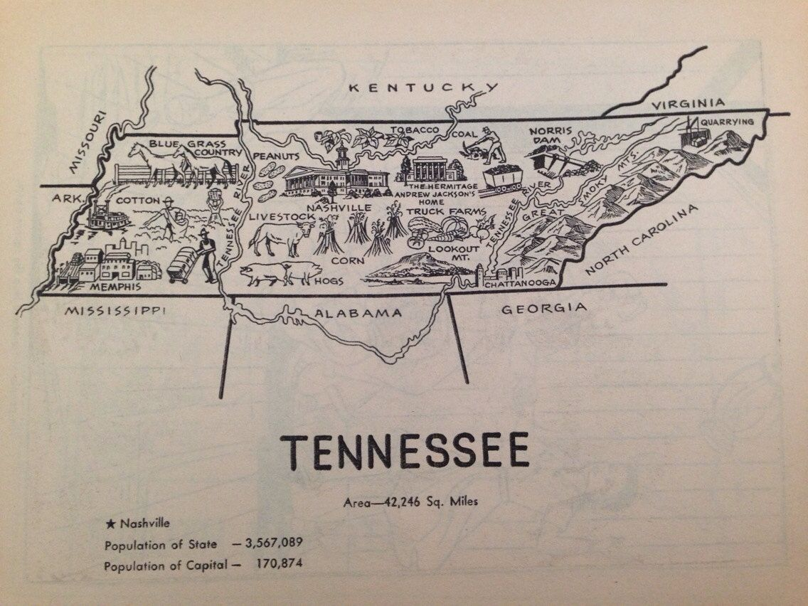 Tennessee Map Art Vintage Wall Art Print State Map Print 1950s