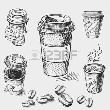 dessin cafe croquis