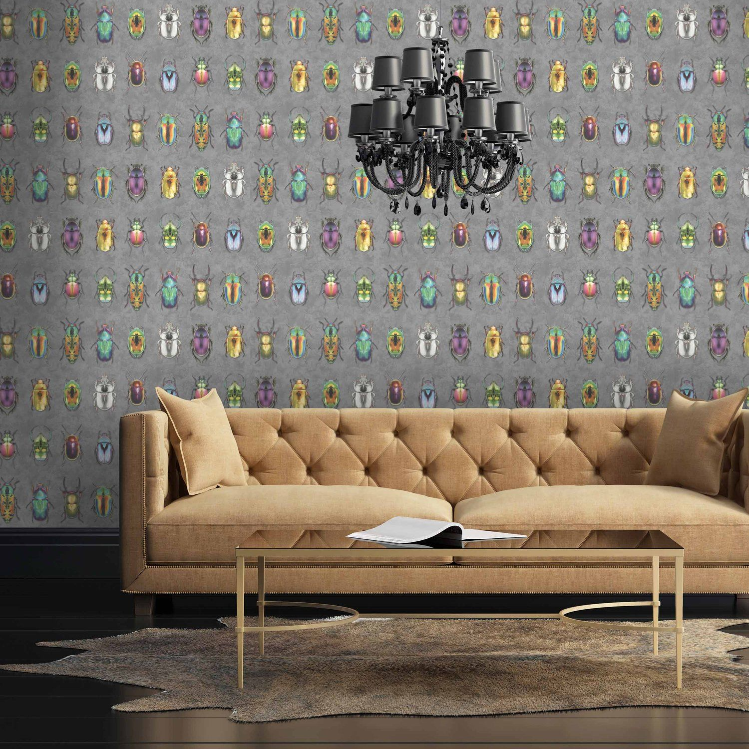 Beetle Jewels Multi Wallpaper Print Wallpaper Grey
