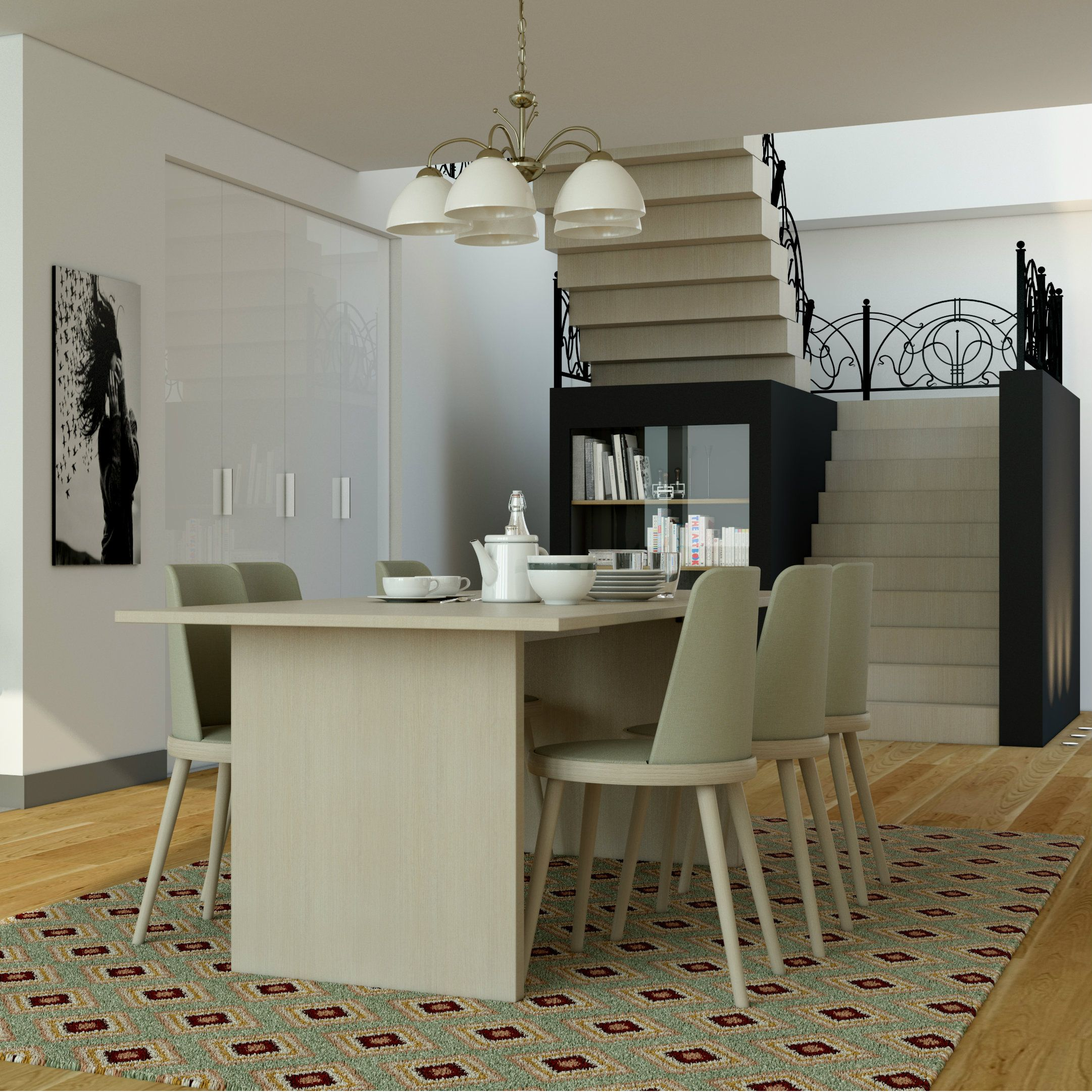 A Small Dining Near The Staircase Minimalist Design Small