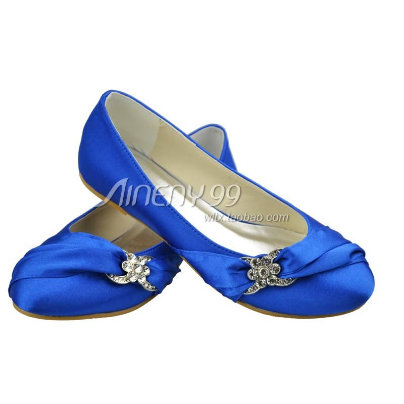 Good Blue Wedding Shoes Flats With Round Toe