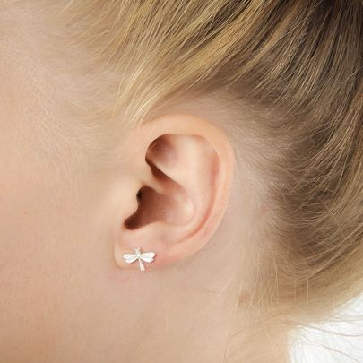 Make A Wish Dragonfly Stud Earrings Sterling Silver