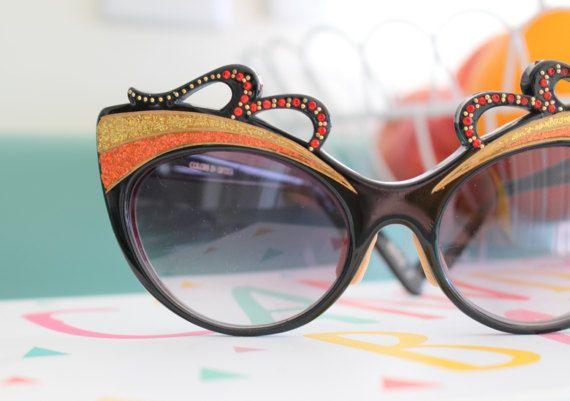 f8b21d7f95 1950s 1960s Bijoux Cat Eye Sunglasses..vintage eyewear. fancy. cateye.  1960s accessories. glitter. t