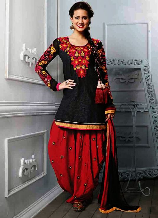 6d1c19b2335 USD 26.47 Black Cotton Jacquard Punjabi Suit 44737