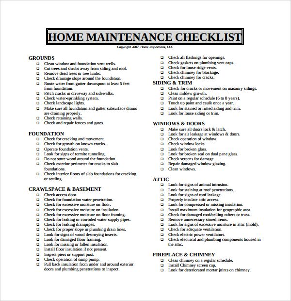Sample Maintenance Checklist Template   Free Documents In Pdf