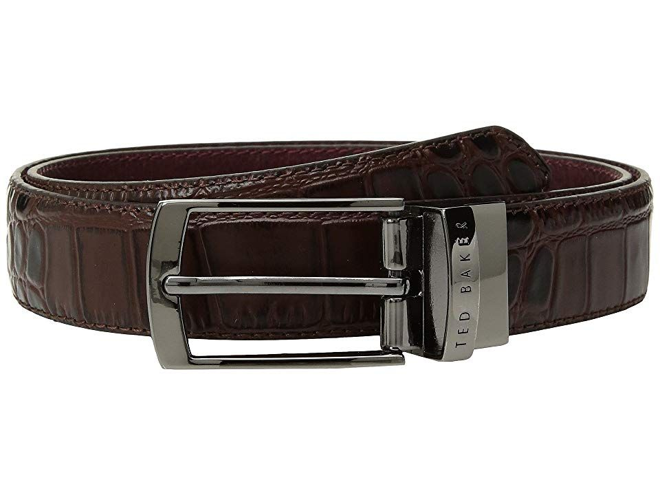 Ted Baker Sunflow Leather Reversible Belt Chocolate Mens Belts Add a little luxury to your refined style with this embossed Ted Baker Sunflow Leather Reversible Belt 100...