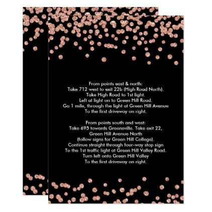 Driving Directions Rose Gold Glitter Confetti Blac Card