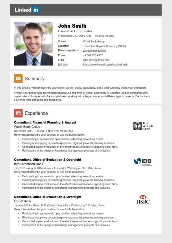 Linkedin | Resume Templates | Pinterest | Resume, Resume templates ...