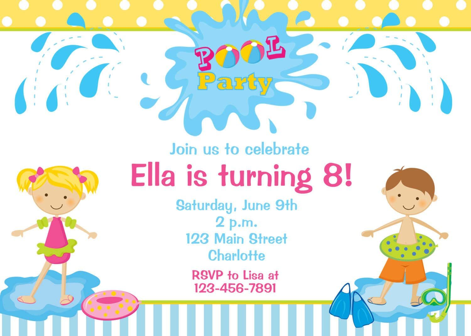 Kids Pool Party Invitations Pool Party Pinterest – Sample Kids Birthday Invitation