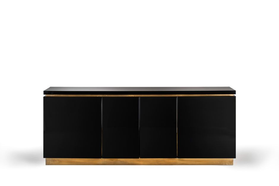 Black glossy sideboard by Jean Clause Mahey, France 1970's