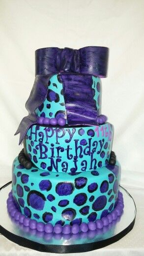 Purple and turquoise leopard cake