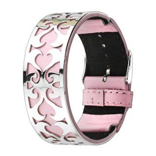 Pink Leather Bracelet with Polished Stainless Steel Cut Out Heart Design... lovely.