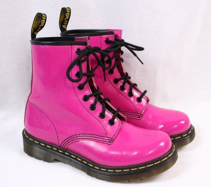 DOC DR MARTENS 1460 Neon Hot Pink Patent Leather 8 Eye Boots Women UK 5 -