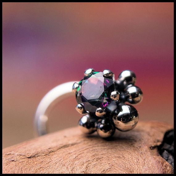 NEW ITEM - Nose Stud Mystic Topaz 3mm Claw Setting with Soldered Handmade Embellishments