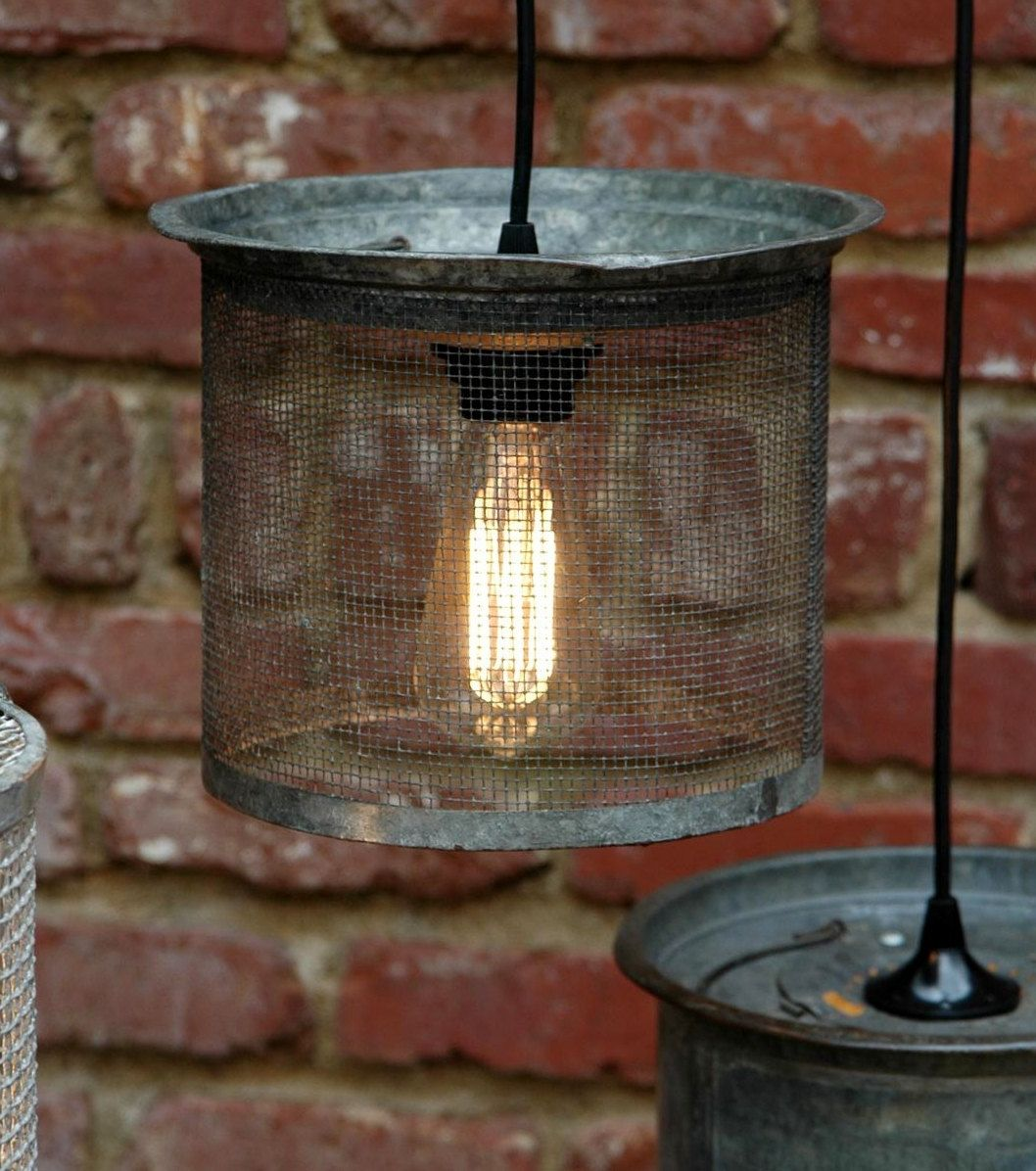 Hanging Industrial Light   Vintage Galvanized Wire Cricket Basket Hanging  Lamp   Unique Glow