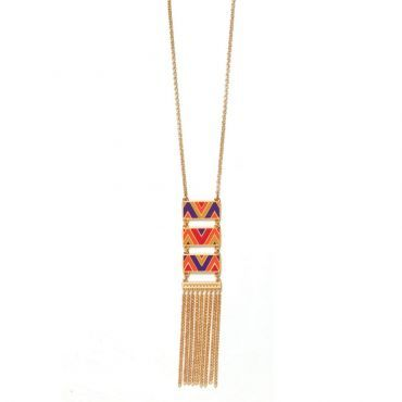 Zig Zag Necklace    #weekendwithfoxy http://www.foxyoriginals.com/Zig-Zag-Necklace-in-GoldOrange.html $50.00