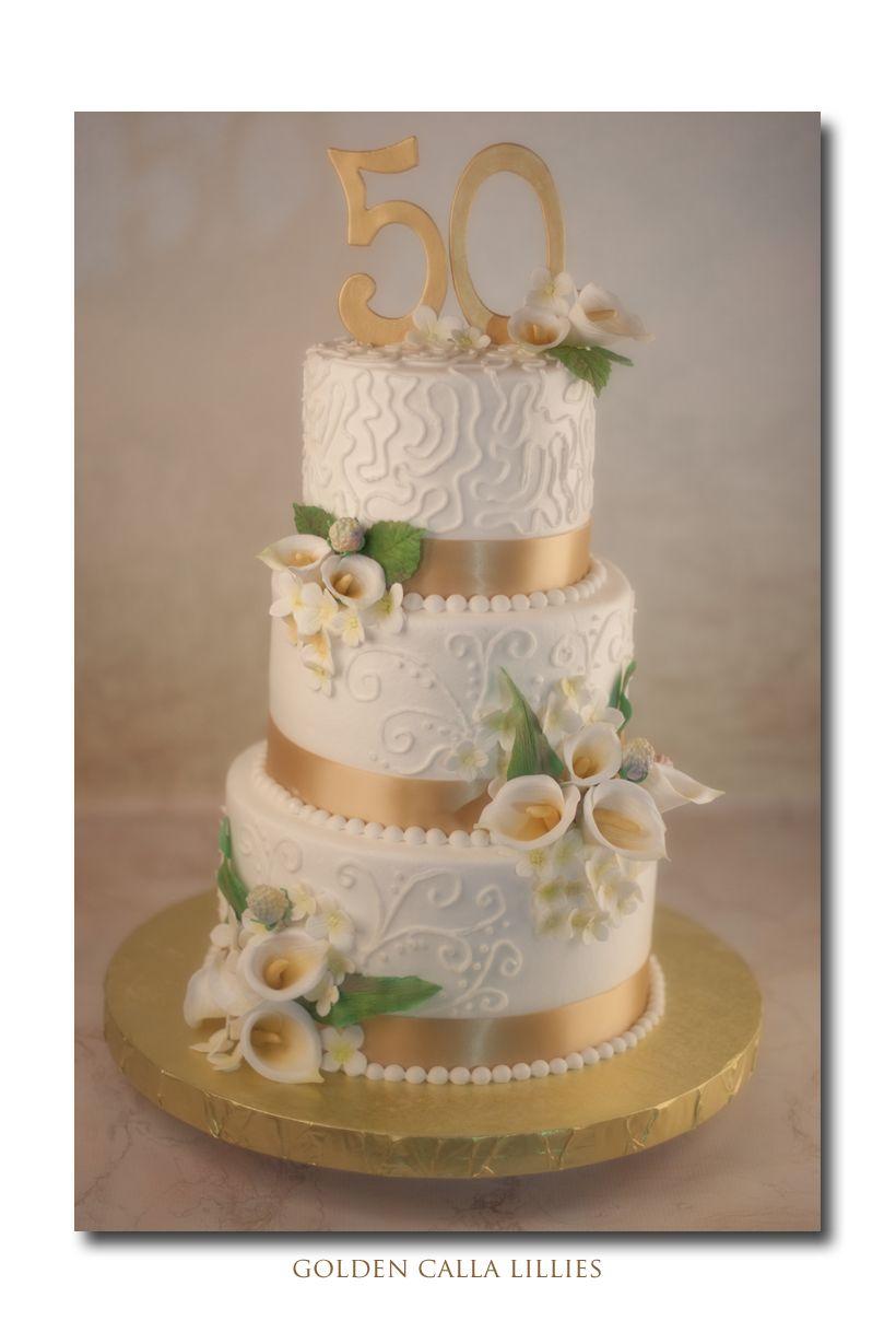 50th wedding anniversary cake. Calla lilies, hydrangea and eaves ...