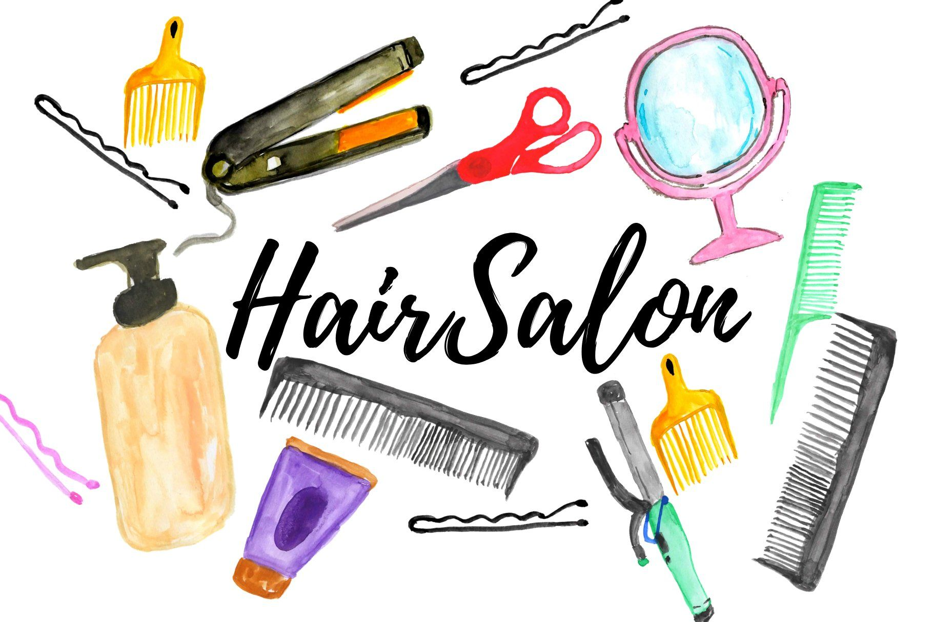 Watercolor hair salon clipart Watercolour hair, Clip art