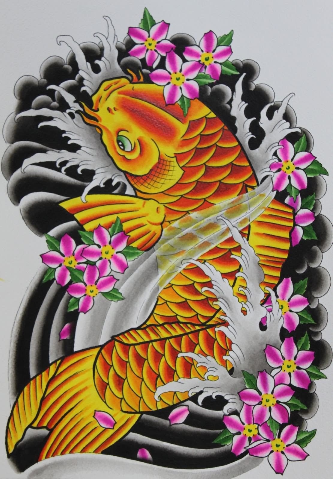 Yellow koi fish with pink flowers tattoo design Koi fish