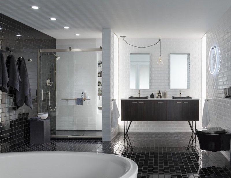 Modèle carrelage salle de bain noir et blanc en 25 décors où respire