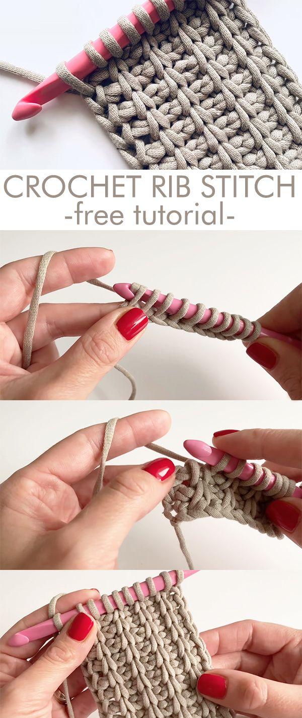 Crochet Tunisian Rib Stitch #sewinghacksvideos