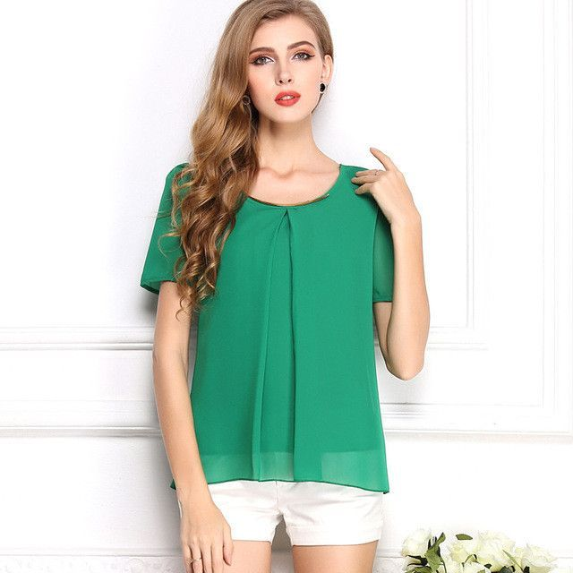 Women's Summer Chiffon Blouse O-Neck Short Sleeve Shirt Solid Color Casual Style Women's Blouse 10 Colors