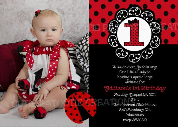 Ladybug Birthday Party Invitation Ladybug by CutiesTieDyeBoutique