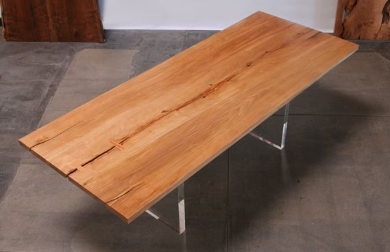 Salvaged Sweet Gum Slab Dining Table With Acrylic Base