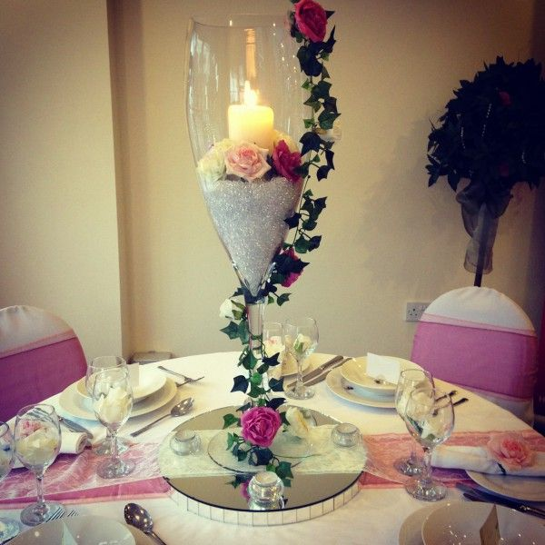 80cm Wine Glass Vase Centerpieces Wedding In 2019 Wine Glass Centerpieces Candle Wedding