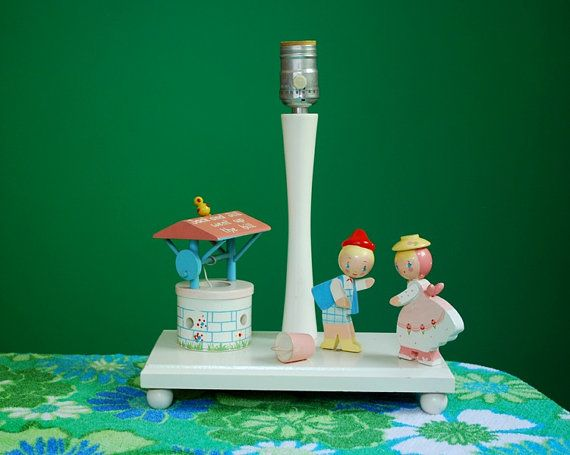 Vintage Wooden Jack And Jill Lamp By Irmi By