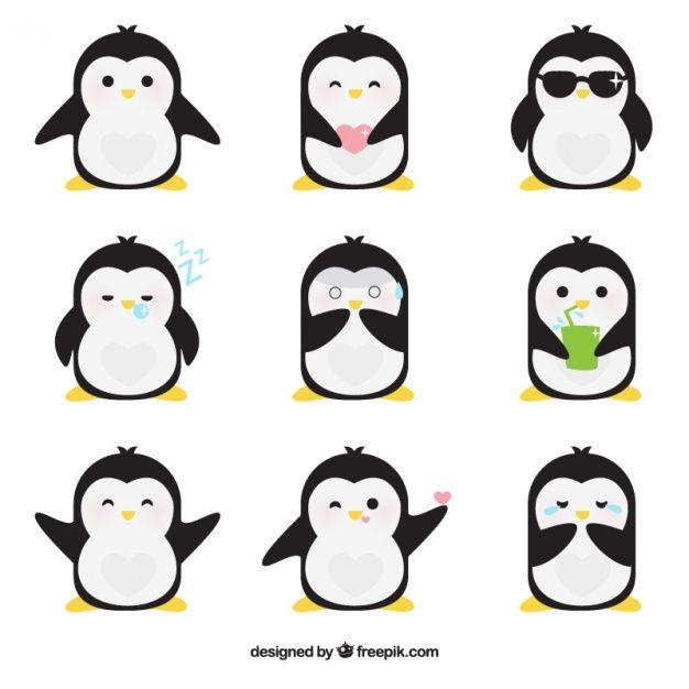 Emoticonos planos de pingüino fantástico Vector Gratis   Referencias ...
