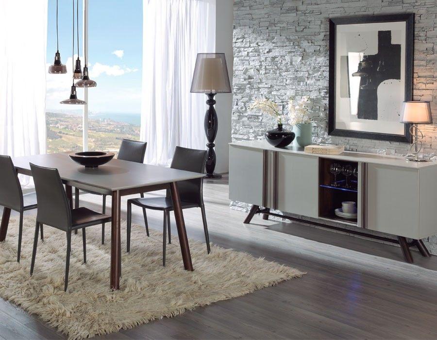 Salle à manger scandinave blanche et couleur bois ALVIN Meubles de - table de salle a manger grise