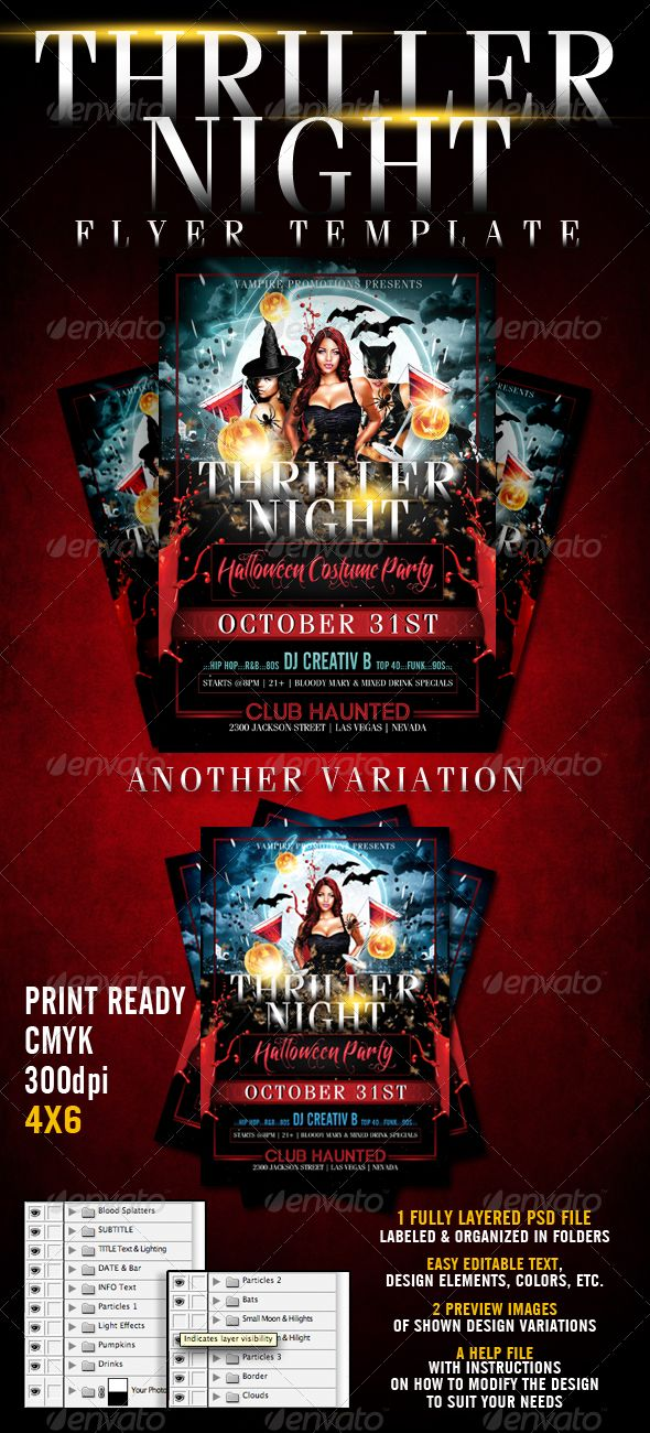 Thriller Night Halloween Flyer Template | Pinterest | Flyer template ...