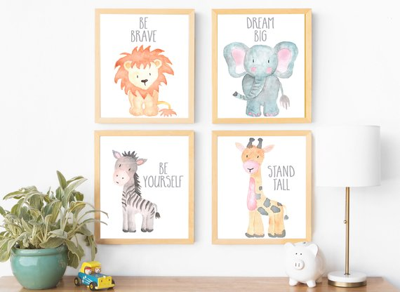 Safari Nursery Wall Art Animal Paintings Baby Prints
