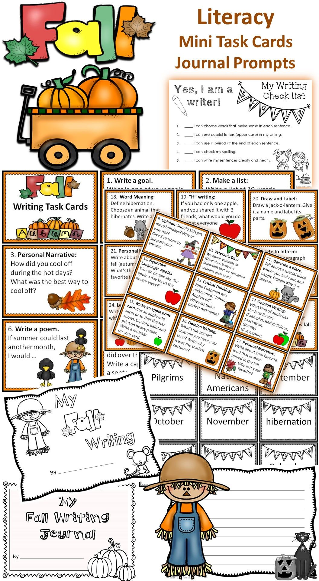 Fall Literacy Task Cards And Writing Prompts
