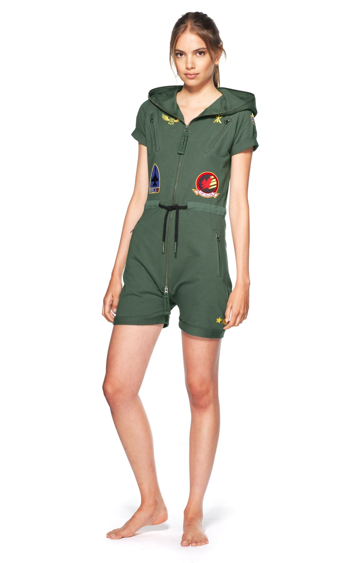 3f860a4ba7 Aviator Fitted Short Jumpsuit Jungle Green - Womens