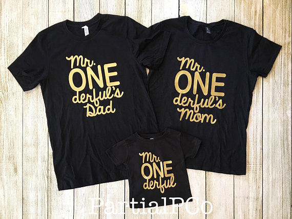 Mr ONEderfuls Mom Dad Team ONEderful Baby Boy First Birthday Shirt