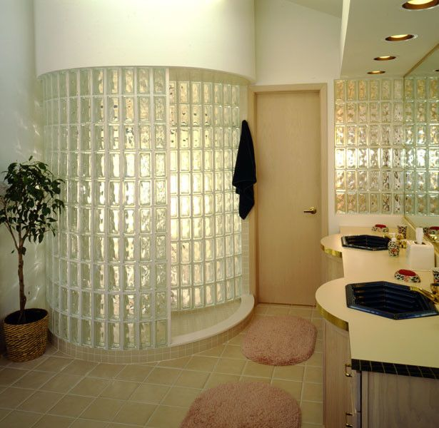 Circular glass brick shower stall but with different bricks ...
