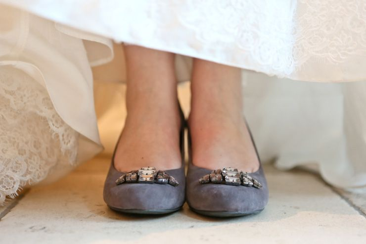 Gray Suede Wedding Shoes With Embellishment