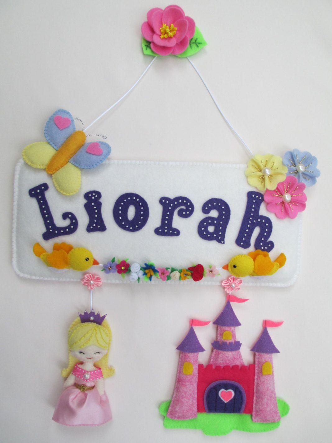 felt name banner princess theme girl name plaque hanging